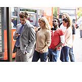 Queue, Bus Stop, Delay, Public Transportation
