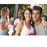 Paar, Party, Feiern, Gartenparty