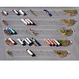 Luftbild, Parkplatz, Autohof
