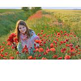 Girl, Flower meadow, Poppies