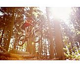 Forest, Tree trunk, Jump, Mountain biker