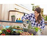 Young Woman, Domestic Life, Gardening