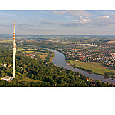 Aerial View, Television Tower, Dresden, Pillnitz