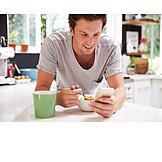 Man, Mobile Phones, Breakfast
