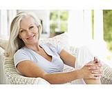 Frau, Seniorin, Entspannt, Zufrieden