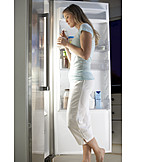 Woman, Eating, Nightlife, Refrigerator, Hot Hunger