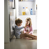 Child, Sweets, Siblings, Refrigerator