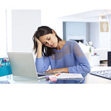 Young Woman, Office, Exhausted, Stress & Struggle