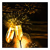 Silvester, Sektglas, Champagner, Feuerwerk