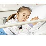 Kind, Mädchen, Schlafen, Patientin, Krankenhausbett