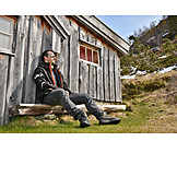 Cabin, Hiker, Rest