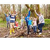 Kindergruppe, Begeisterung, Naturlehrpfad