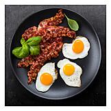Breakfast, Fried Egg, Bacon, American Cuisine