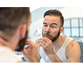 Young Man, Body Care, Hair Removel, Trim, Nose Hair