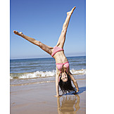 Woman, Beach, Active, Sporting, Hand stand
