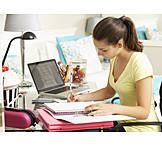 Teenager, Mädchen, Lernen, Hausaufgaben, Schülerin