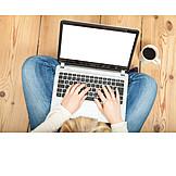 Woman, Home, Laptop, Online