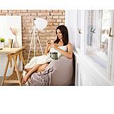 Woman, Domestic Life, Comfortable, Sms