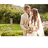 Love, Bouquet, Bridal Couple, Marriage