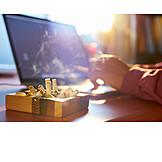 Laptop, Rauchen, Raucher, Stress & Belastung