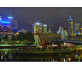 Nachtleben, Touristen, Melbourne, Yarra-river