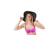 Young Woman, Bikini, Summer, Summer Hat