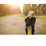 Forest, Evening sun, Sportswoman