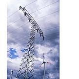 Electrical Tower, Pinwheel, Alternative Energy