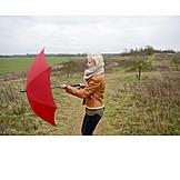 Umbrella, Breezy, Autumn Weather