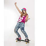 Young Woman, Fun & Happiness, Youth Culture, Snakeboard