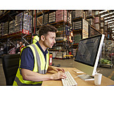 Man, Logistics, Warehouse, Inventory, Warehouse Clerk