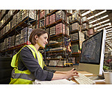 Young Woman, Logistics, Inventory, Warehouse Clerk
