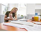 Kleinkind, Mutter, Multitasking, Home Office