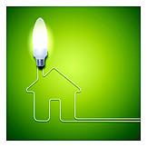 Umweltfreundlich, Glühbirne, Niedrigenergiehaus