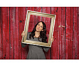 Young woman, Picture frame, Photo shoot
