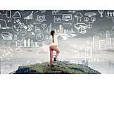 Geschäftsfrau, Karriere, Planung, Strategie, Stadtentwicklung, Stadtplanung