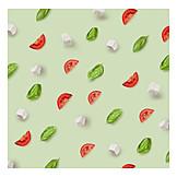 Pattern, Basil, Tomato, Mozzarella