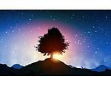 Landscape, Tree, Symbol, Stars Sky