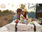 Verliebt, Liebespaar, Picknick, Hochzeitsreise