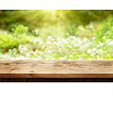 Meadow, Wooden Table, Springtime