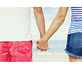 Couple, Beach, Hand In Hand, Flirt