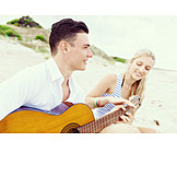 Love Couple, Beach Holiday, Playing Guitar