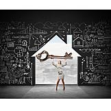 Haus, Strategie, Schlüssel, Effizienzhaus