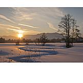 Twilight, Sunset, Winter, Winter Landscape, Upper Bavaria, Winter Sun