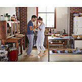 Couple, Love, Kitchen, Morning, Dancing