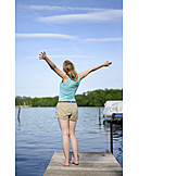 Young Woman, Woman, Enjoyment & Relaxation, Relaxation & Recreation, Freedom, Vacation