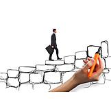 Businessman, Upward, Fixed Stand, Ladder Of Success