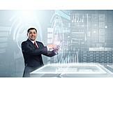 Geschäftsmann, Medien, Online, Aktivieren, Tablet-pc, Datenanalyse