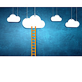 Wolken, Leiter, Erfolgsleiter, Wunsch
