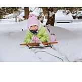 Kleinkind, Kind, Winter, Schlitten